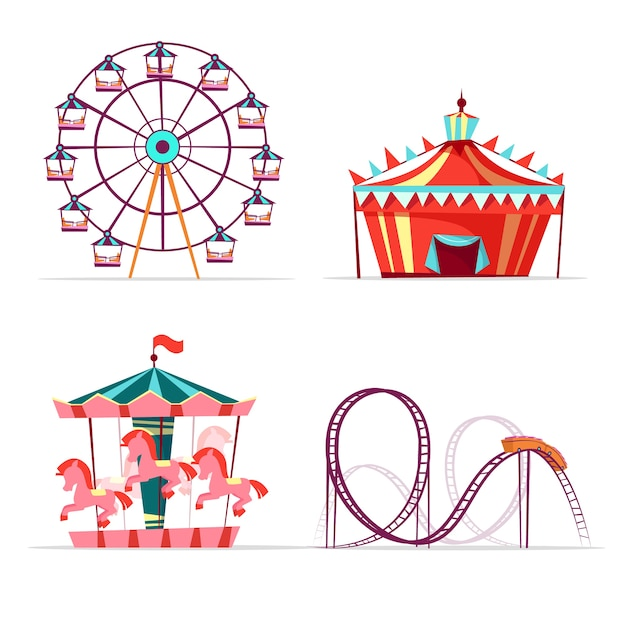 Cartoon amusement park attractions set. ferris wheel, merry go round horse carousel Free Vector