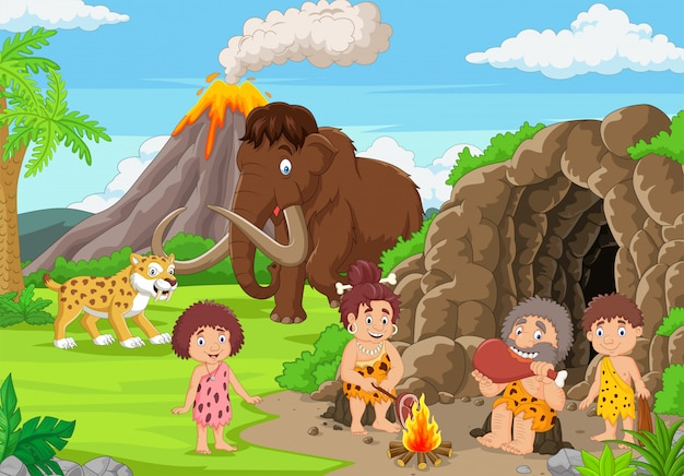 Premium Vector | Cartoon ancient cavemen in stone age with mammoth and  sabertooth