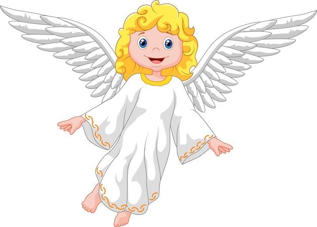 Cartoon angel isolated on white background Premium Vector