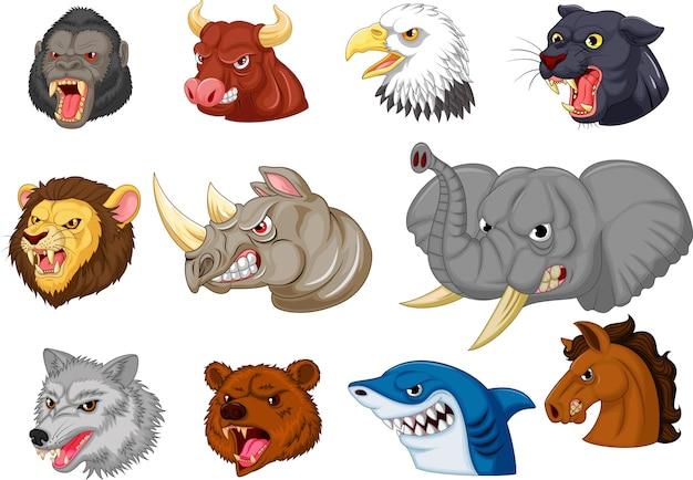Cartoon angry animals head collection set Premium Vector