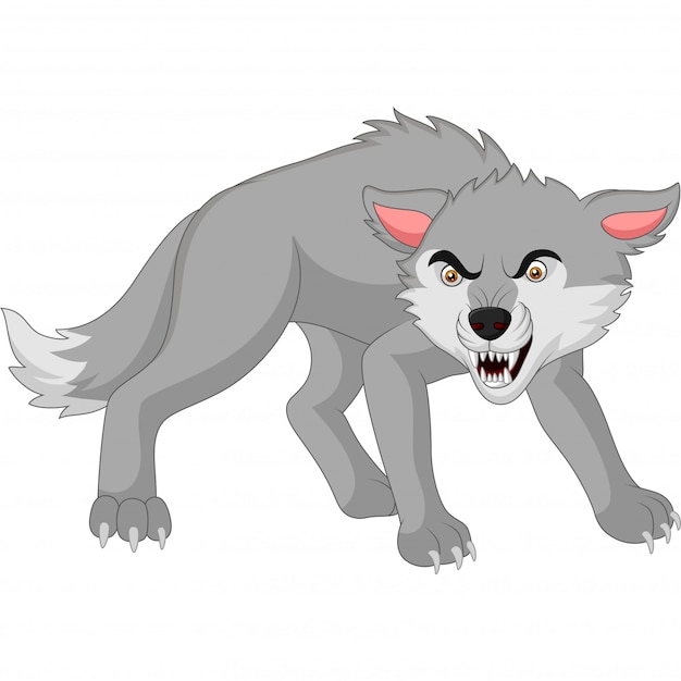 Cartoon angry wolf isolated on white Premium Vector