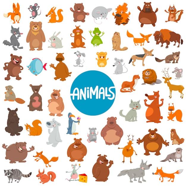 Мультфильм животных персонажей огромный набор Premium векторы