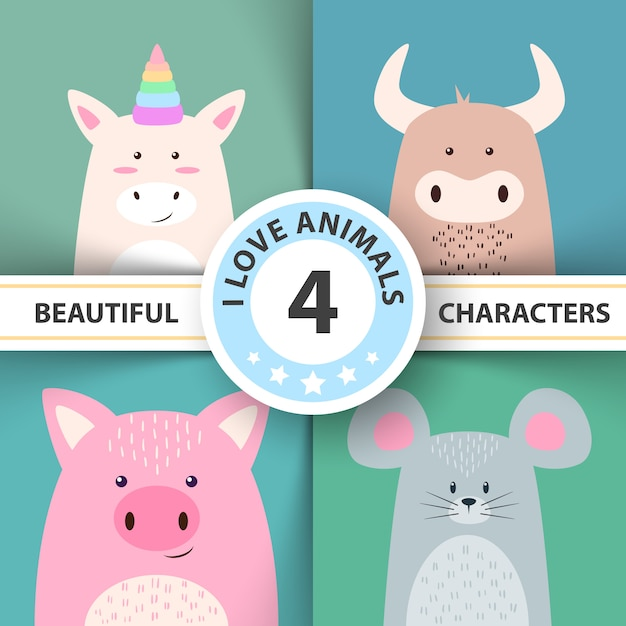 Cartoon animal characters unicorn, bull, pig mouse Premium Vector