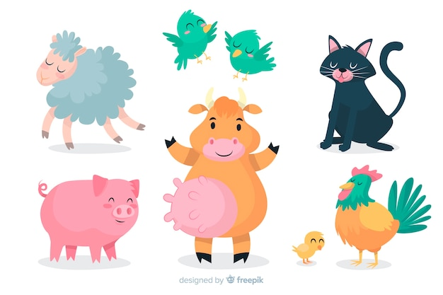 Cartoon animal collection artistic design Free Vector