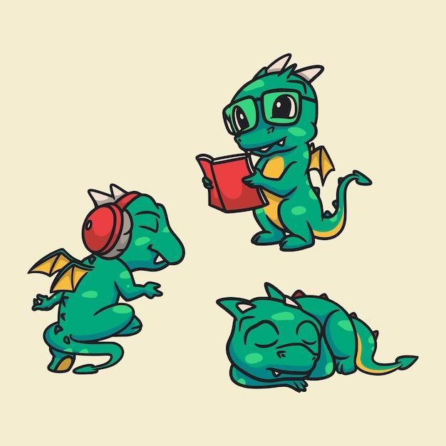 Мультяшные животные-драконы слушают музыку, читают книги и спят милый талисман Premium векторы