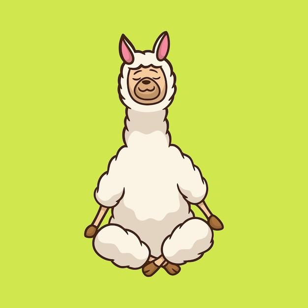 漫画の動物のデザインラマヨガポーズかわいいマスコットのロゴ Premiumベクター