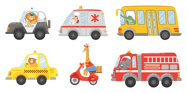 漫画の動物ドライバー。救急車、消防車、パトカーの動物。動物園のタクシー、公共バス、配送トラックのベクトルを設定 Premiumベクター