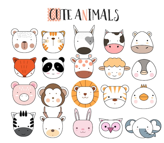 Cartoon animal icons set Premium Vector
