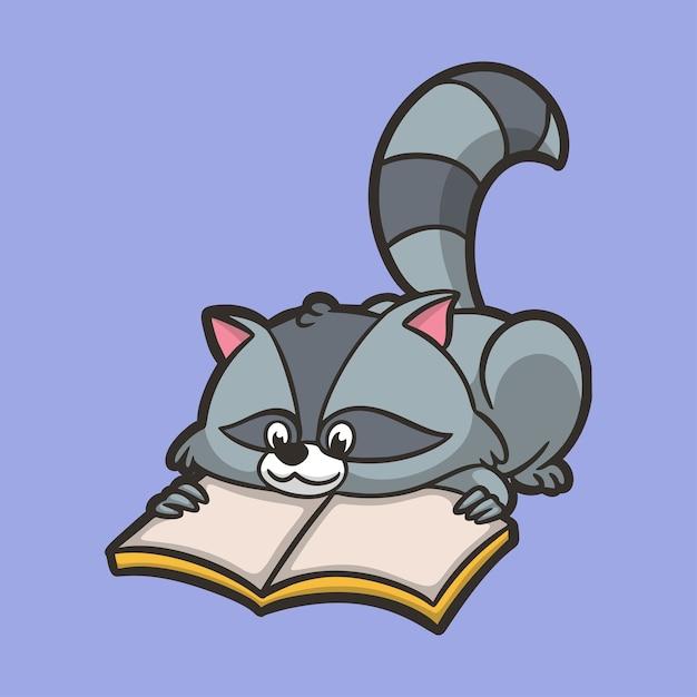 Мультяшные животные еноты читают книги милый талисман логотип Premium векторы