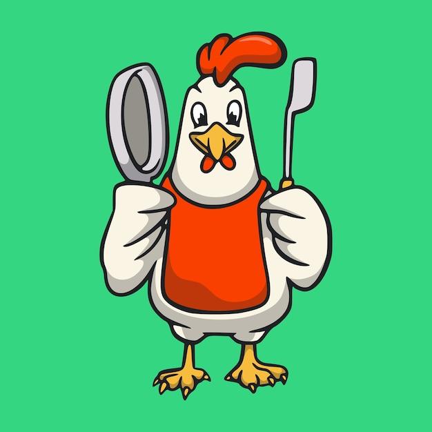 漫画の動物のオンドリは、シェフのかわいいマスコットのロゴになります Premiumベクター