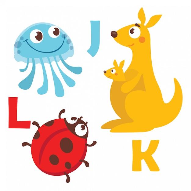 Cartoon animals alphabet Premium Vector