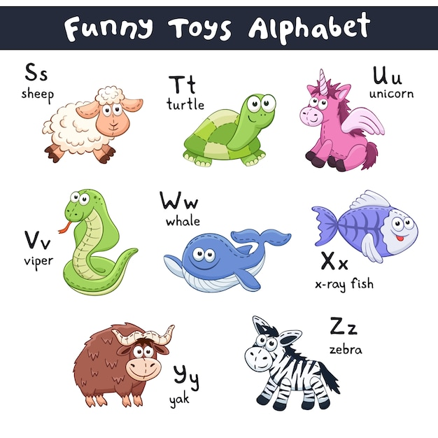 漫画の動物のアルファベット Premiumベクター