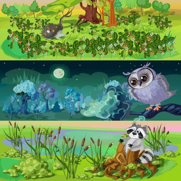 Set di banner animali del fumetto Vettore gratuito