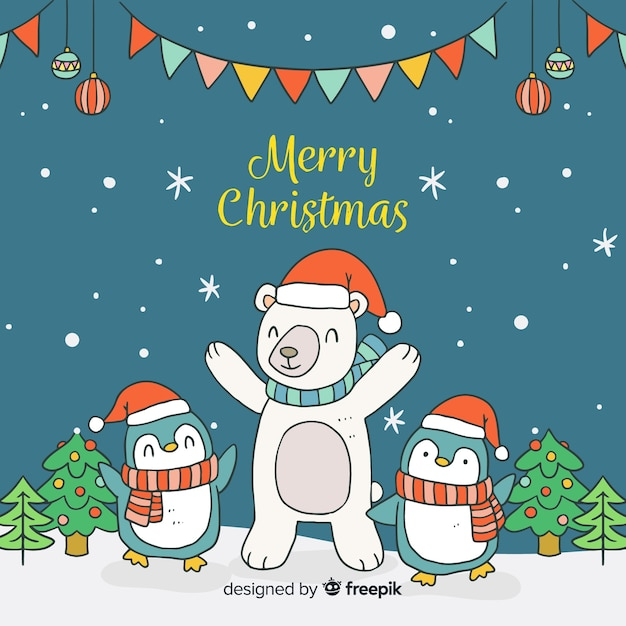 free vector cartoon animals christmas background cartoon animals christmas background