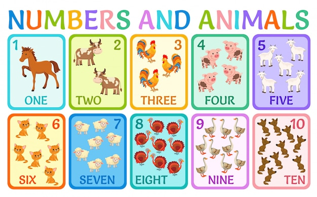 Cartoon animals of farm. Premium Vector
