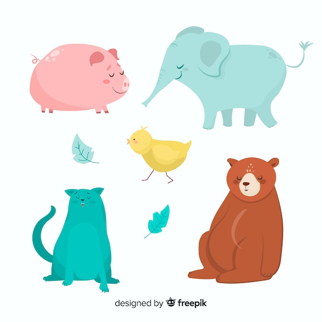 Cartoon animals from farm and wildlife Free Vector