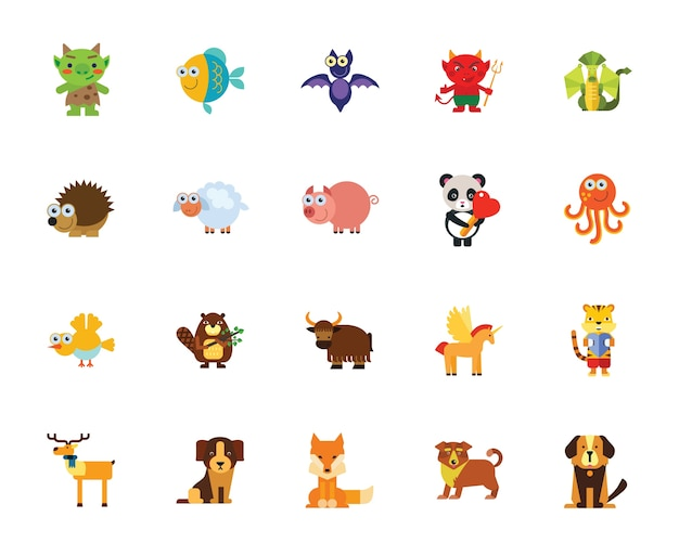 Cartoon animals icon set