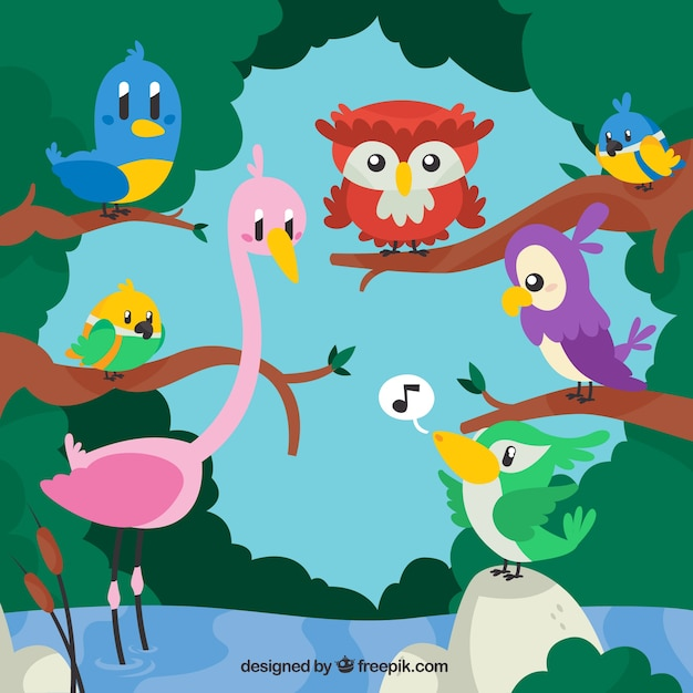 Cartoon animals in the nature\ illustration