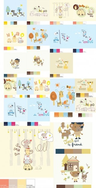 Cartoon animals scenes vector set