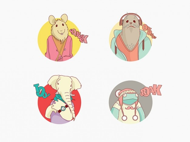 Cartoon animals vector characters