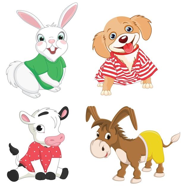Cartoon animals Premium Vector