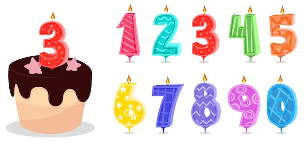 Cartoon anniversary numbers candle celebration Premium Vector