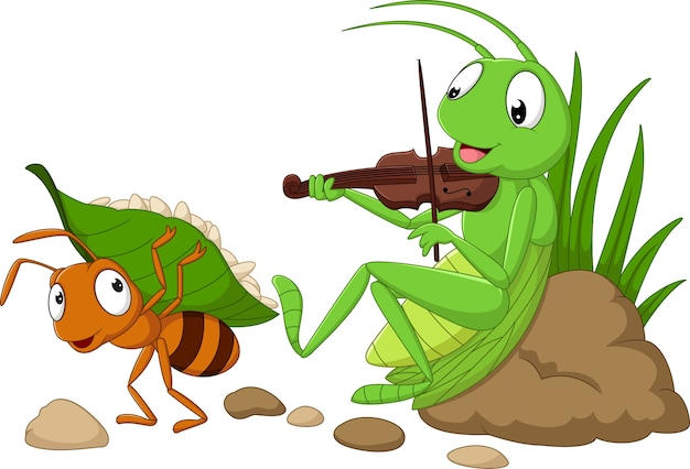 Cartoon the ant and the grasshopper Premium Vector
