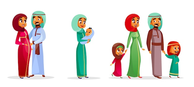 cartoon arab family characters set. Happy saudi, emirates muslim couple, man, woman Free Vector