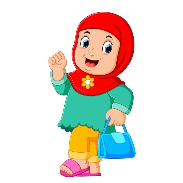 Cartoon arab women character with hijab carrying Premium Vector