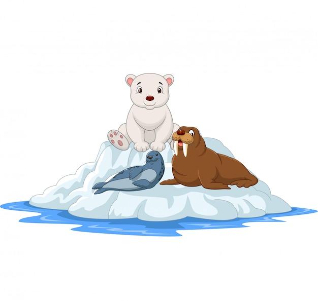 Мультфильм арктических животных на айсбергах Premium векторы