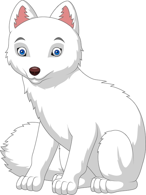 Cartoon arctic fox isolated on white background Premium Vector