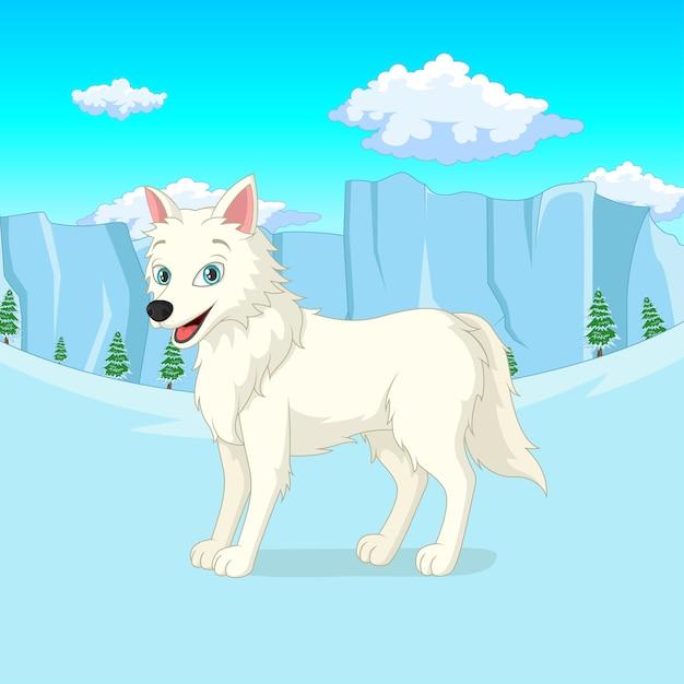 漫画のホッキョクオオカミは冬の森に立っています Premiumベクター
