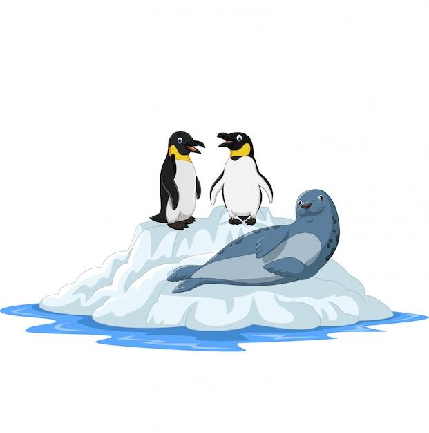Cartoon arctics animals on ice floe Premium Vector