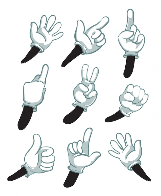 Cartoon arms, gloved hands. parts of body Premium Vector