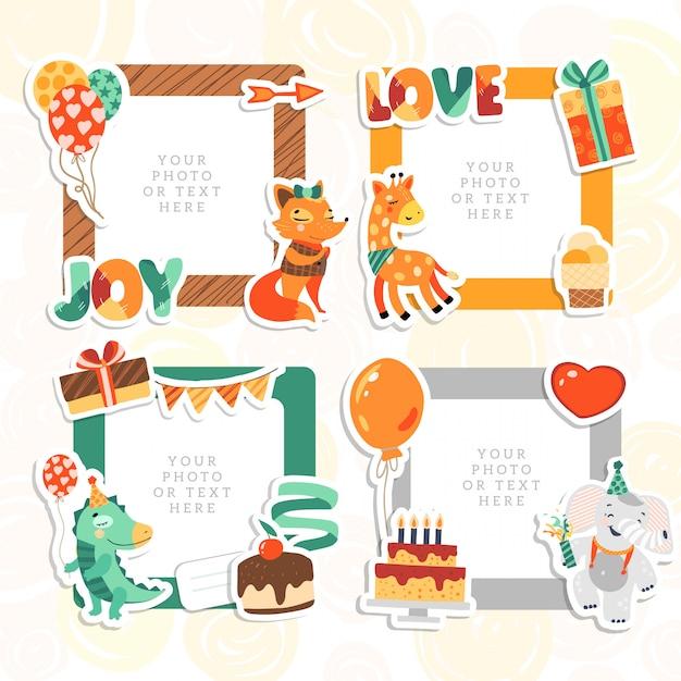 漫画のアートスタイル。装飾的な誕生日テンプレートフレーム。子供の写真、面白い写真、カード、思い出に使用できるこのフォトフレーム。スクラップブックのデザインコンセプト。画像を挿入します。 Premiumベクター