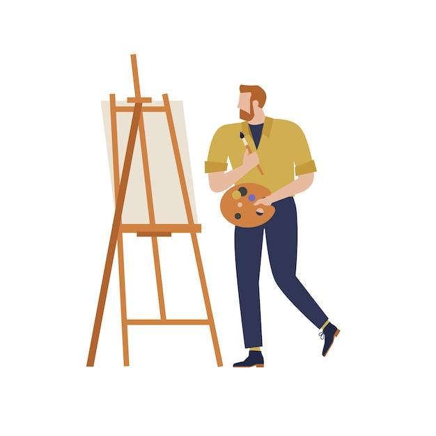 Cartoon artist  isolated character in creative artistic hobbies Premium Vector
