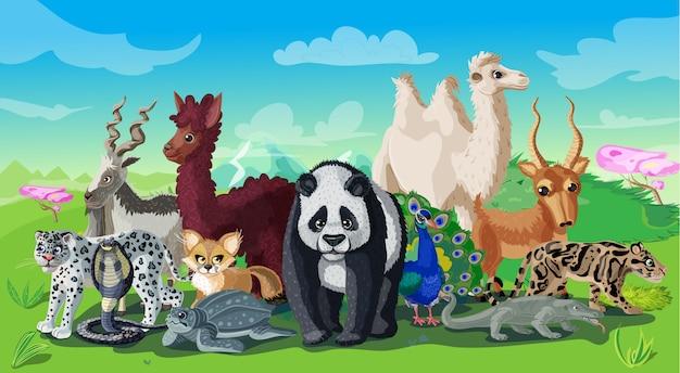Шаблон мультфильм азиатских животных Бесплатные векторы