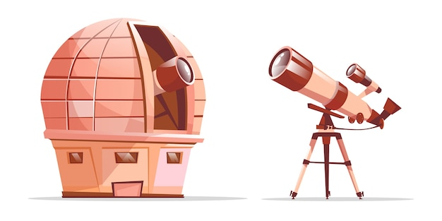 Cartoon astronomy discovery equipment set. observatory dome with radio telescope Free Vector