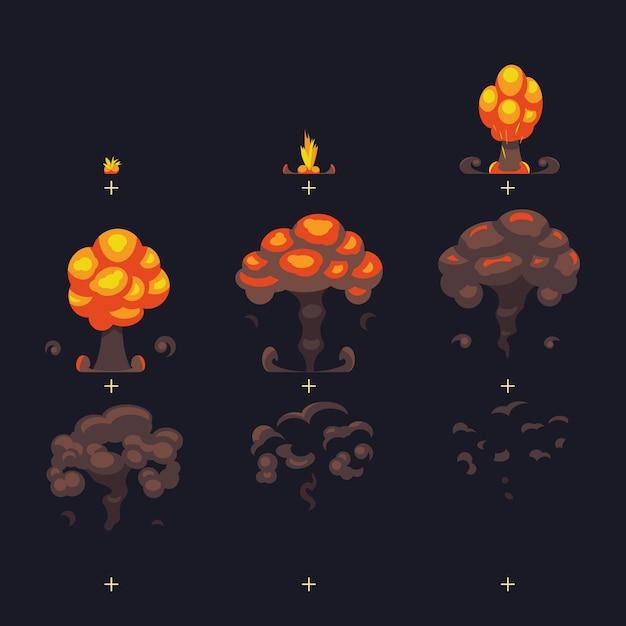 Cartoon atomic bomb explosion Premium Vector