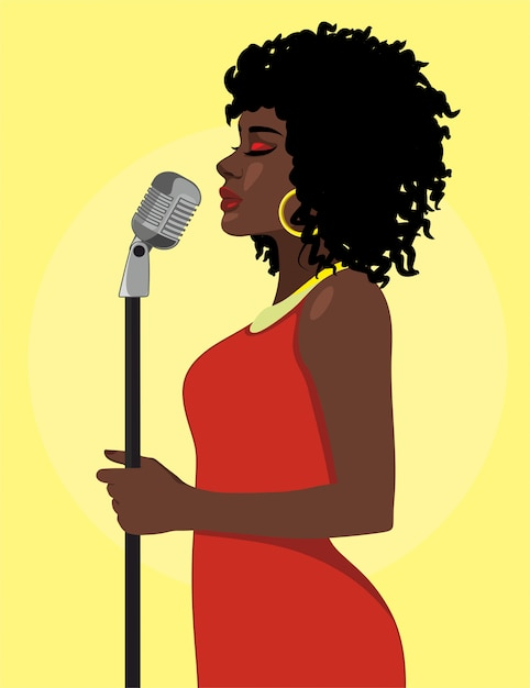 Cartoon attractive female singer concept Free Vector
