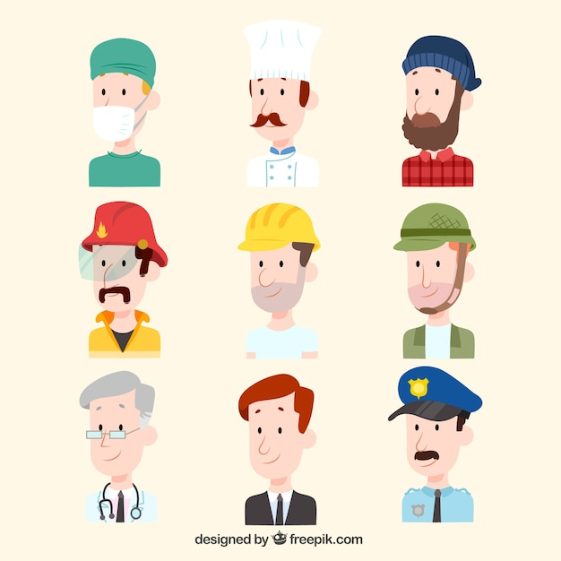 Cartoon avatars with flat design