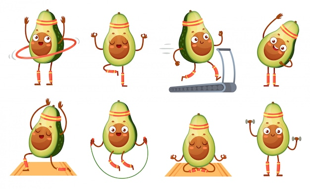 Cartoon Avocado Character Fitness Funny Avocados In Yoga Poses Gym Cardio And Vegetarian Sport Food Mascot Illustration Set Premium Vector