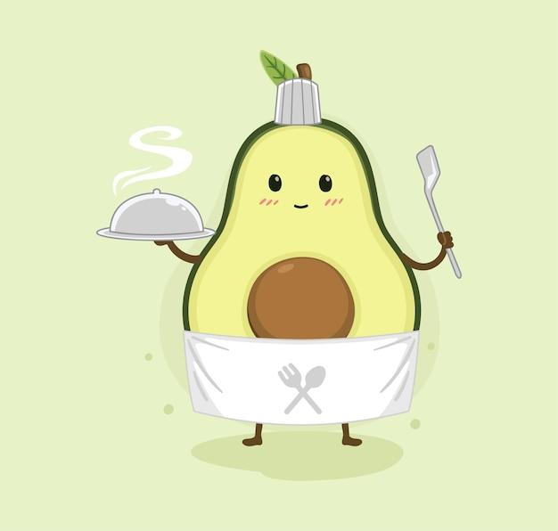 Мультфильм авокадо кулинария Premium векторы