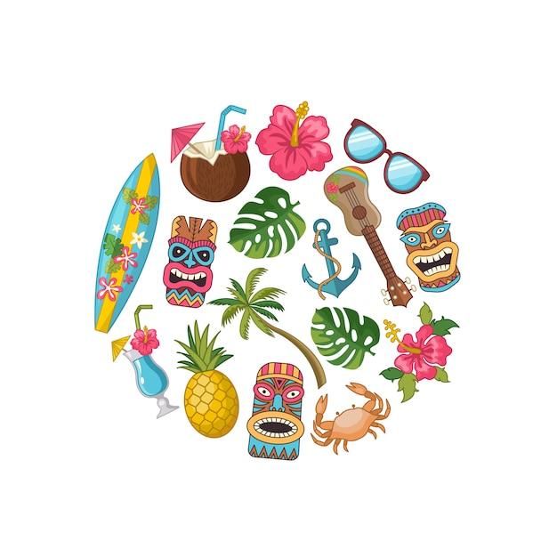 Cartoon aztec and maya mask elements background template Premium Vector