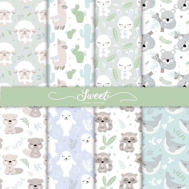 Cartoon baby animal patterns collection for baby wallpaper Premium Vector