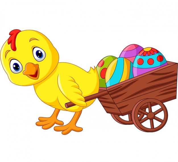 Cartoon baby chick pulling a cart full of easter eggs Premium Vector
