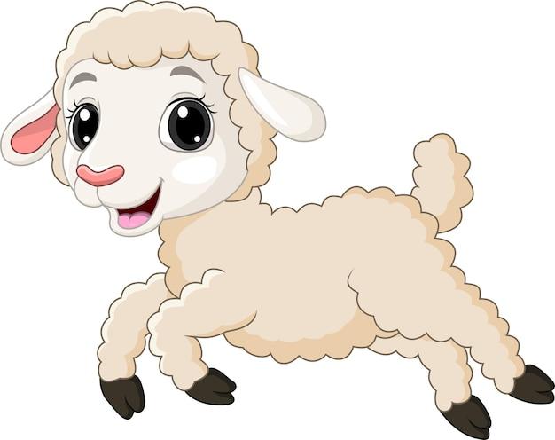 白で実行されている漫画の子羊 Premiumベクター