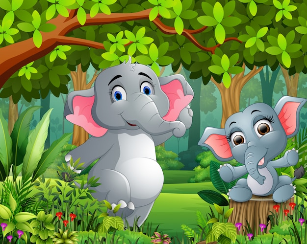 Cartoon baby and mother elephant in a beautiful nature Premium Vector
