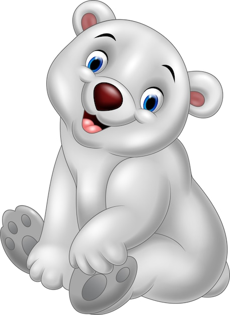Cartoon baby polar bear sitting Premium Vector
