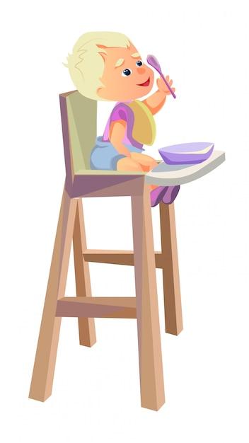 Cartoon baby sitting in highchair spoon in hand Premium Vector